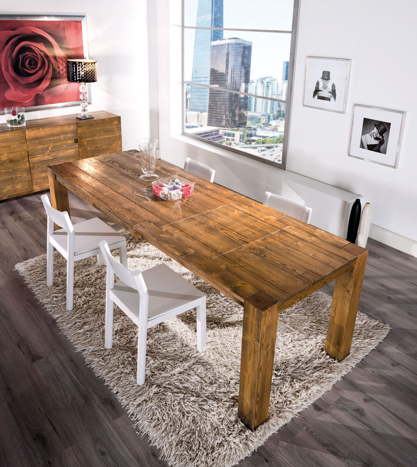 Tavolo legno di abete massello spazzolato tavoli e for Tavoli da pranzo in legno