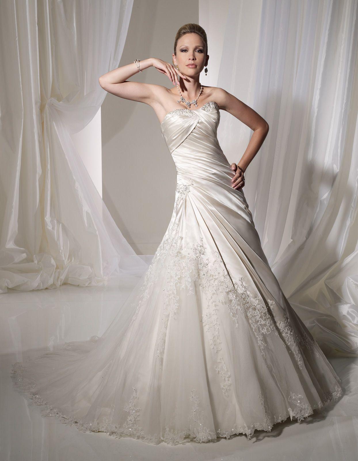 Asymmetrical Wedding Dress Strapless Court Train Satin Netting ...
