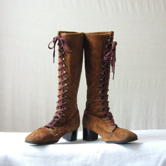 Knee High Boots 60s 70s Boots Vintage Brown Suede Lace Up