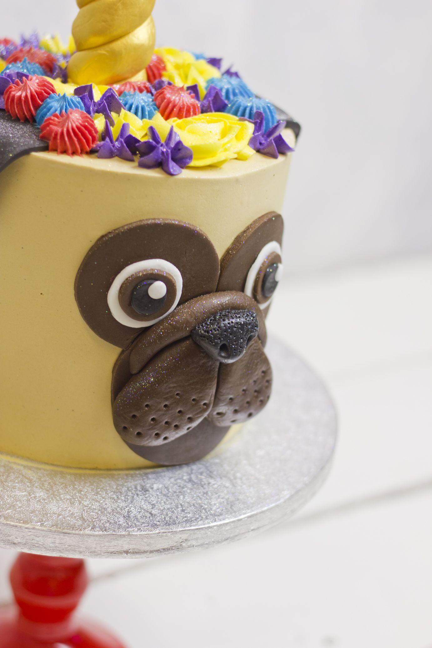 Bespoke Pug Unicorn Birthday Cake Delivered In London