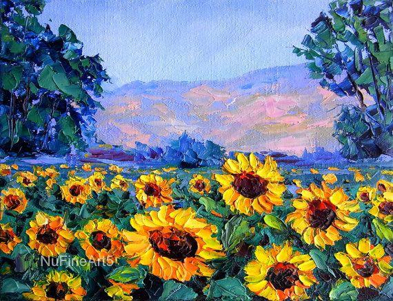 Sunflower Field Landscape Textured Palette Knife by NuFineArt5