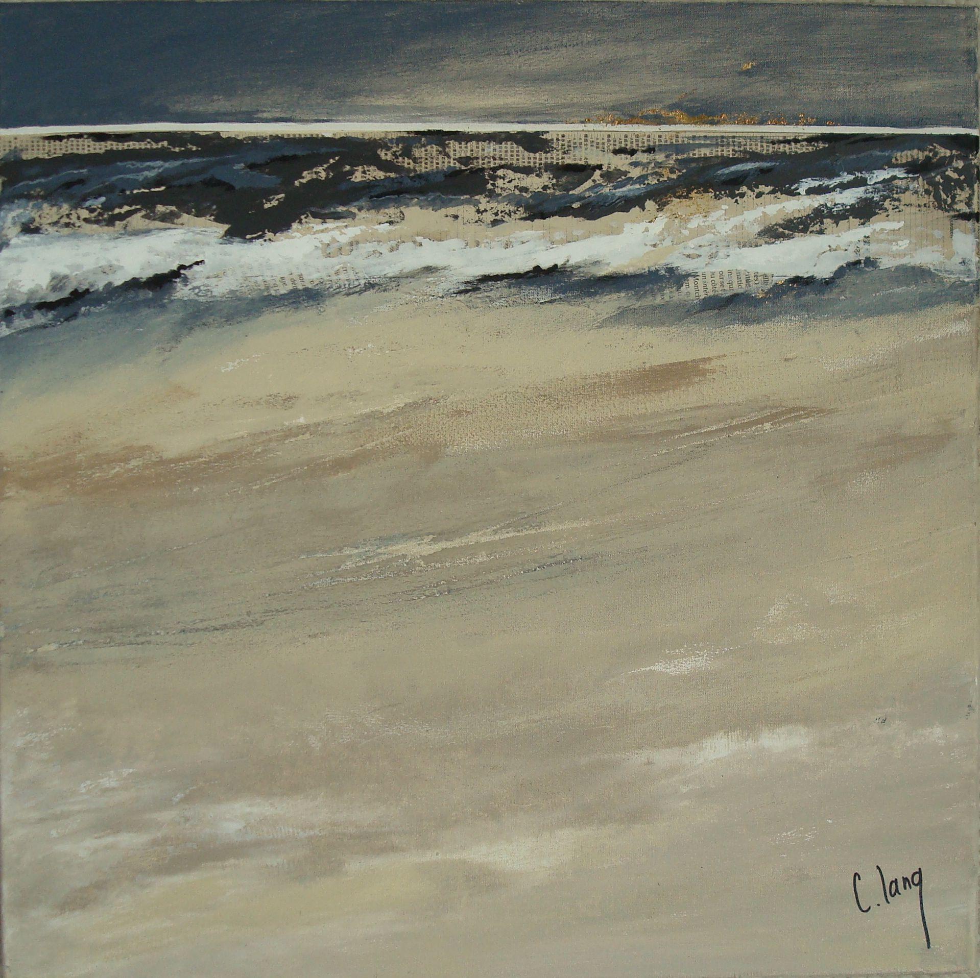 """http://chalang.wordpress.com .""""Horizon"""" mix media on caneva by Chantal Lang"""