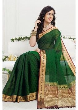 Green pure Crepe Silk dazzling saree with maroon & gold border -SR10399