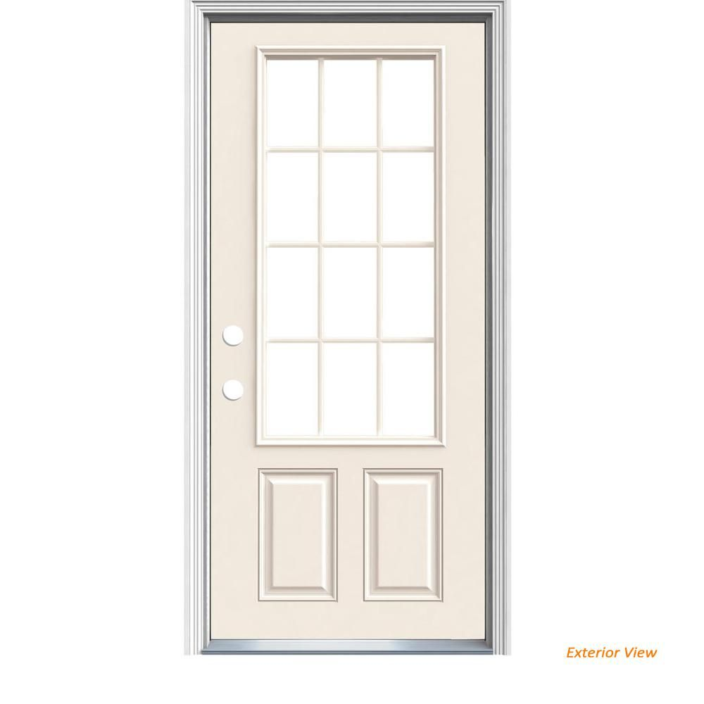 Jeld Wen 36 In X 80 In 12 Lite Primed Steel Prehung Right Hand Inswing Prehung Front Door With Brickmould In 2020 Exterior Doors Exterior Front Doors Primed Doors