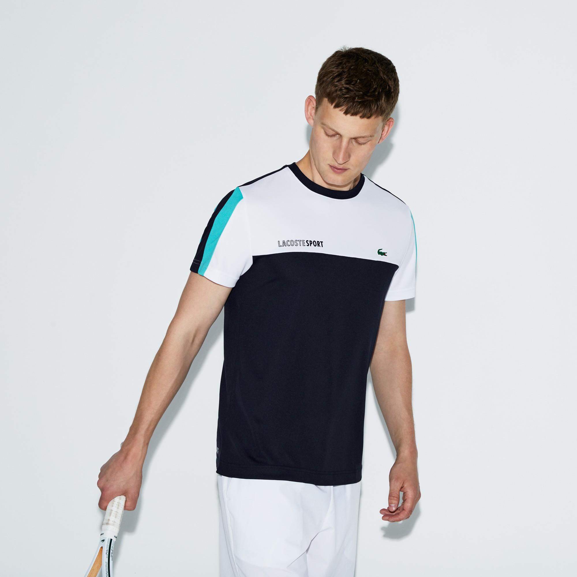 7d3cec0d Lacoste Men's Sport Crew Neck Colorblock Piqué Tennis T-Shirt - White/Navy  Blue-Papeete 3Xl Green