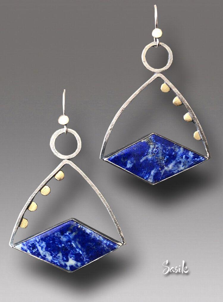 Photo of Lapis Lazuli Earrings Sterling Silver 18 k Gold Earrings  — Beata Sasik Art Gallery