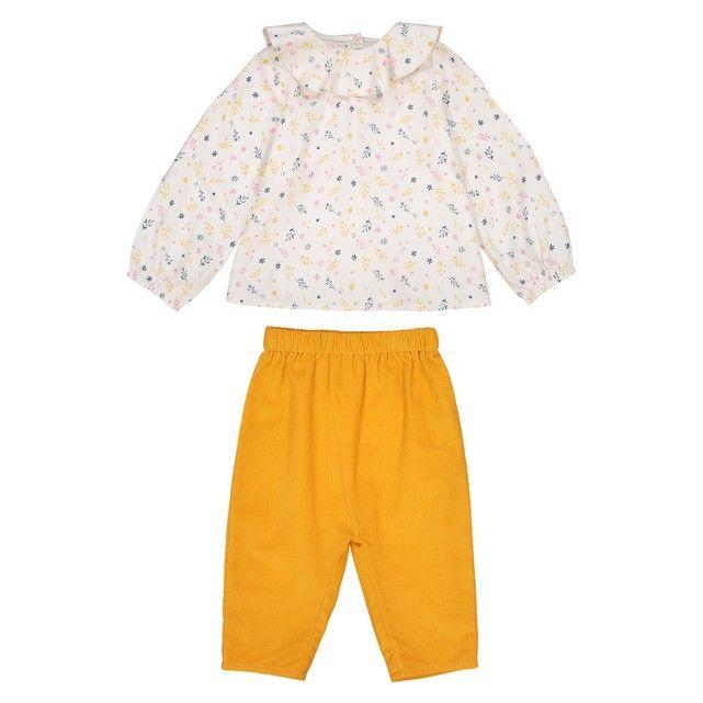 17db16614ecee Ensemble 2 pièces blouse + pantalon 0 mois - 3 ans La Redoute Collections  jaune +