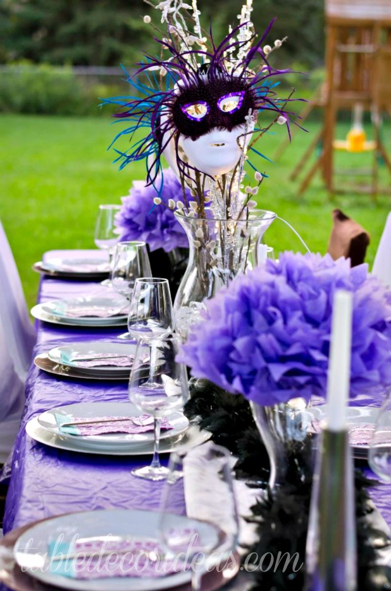 Fun Dinner Party Ideas Adults Part - 28: Great Mardi Gra Party Idea: Elegant Outside Table Decor Idea- Dinner Party