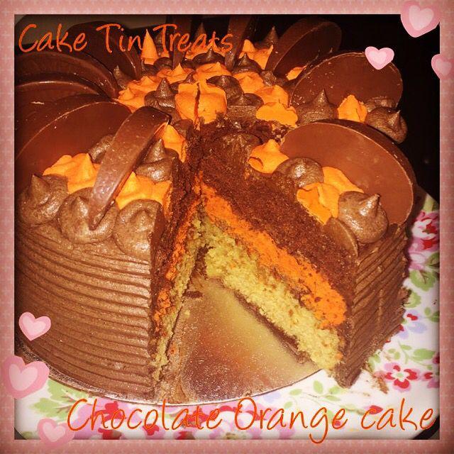 Chocolate orange cake. 3 layer sponge: vanilla, orange ...