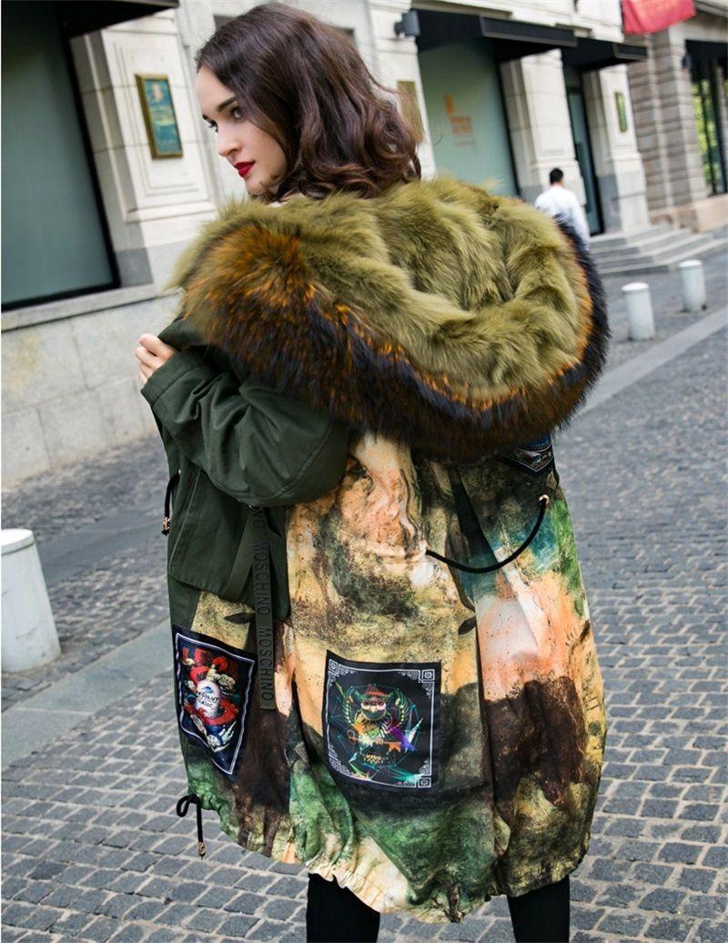 New Women s Real Fur Fox jacket Coats Natural Collar Fur Coat Hooded Women  Overcome Long Jackets 781ad2107