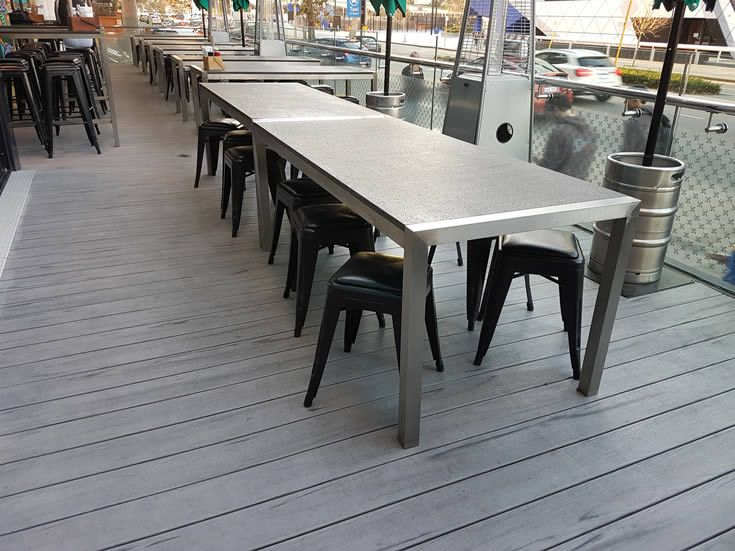 Modwood Silver Gum composite decking comes in brushed and