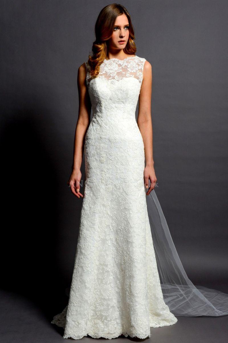 Charming panel train sheath column lace bateau wedding gown