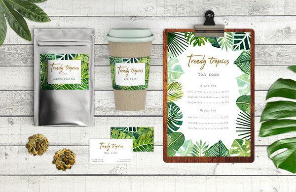 Cliparts haute qualité de feuilles tropicales peintes à laquarelle, motifs jungle, feuille de palme, palmier, motif céramique, feuilles or