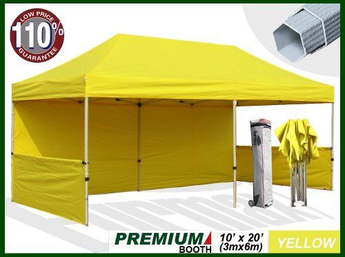 Eurmax Premium Ez Up Canopy Booth With Wheeled Bag Bonus 4weight Bag 20x10 Feet Yellow 1 3 4 Inch Hexagon Leg By Eurmax 8 Canopy Frame Canopy Bbq Store