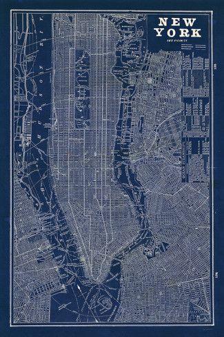Blueprint map new york prints stairway walls and office art blueprint map new york malvernweather Gallery