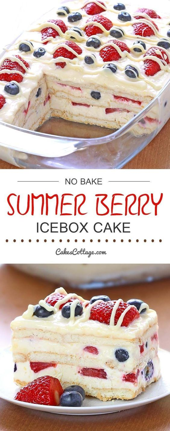 No Bake Summer Berry Icebox Cake #quickcookies