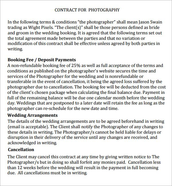 Photography Contract - 7 Free PDF Download Sample Templates - sample contractor agreement