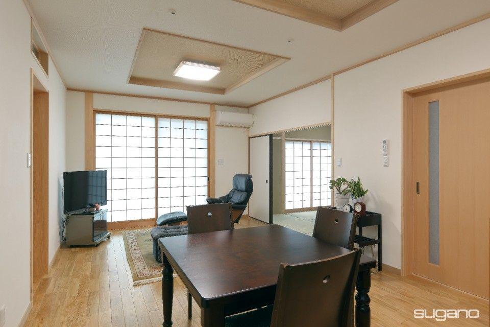 1階の親夫婦のldは15畳の広さを確保 旧宅の障子を建て込んだ和風の