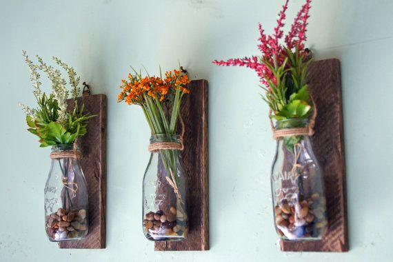 Hanging Milk Bottle Wall Vases Wall Mounted Flower Vases Hanging Flower Vases Reclaimed Wood Rustic Floral Decor Milk Bottles Set Of 3 Wall Flower Vases Rustic Floral Decor Milk Bottle Decor
