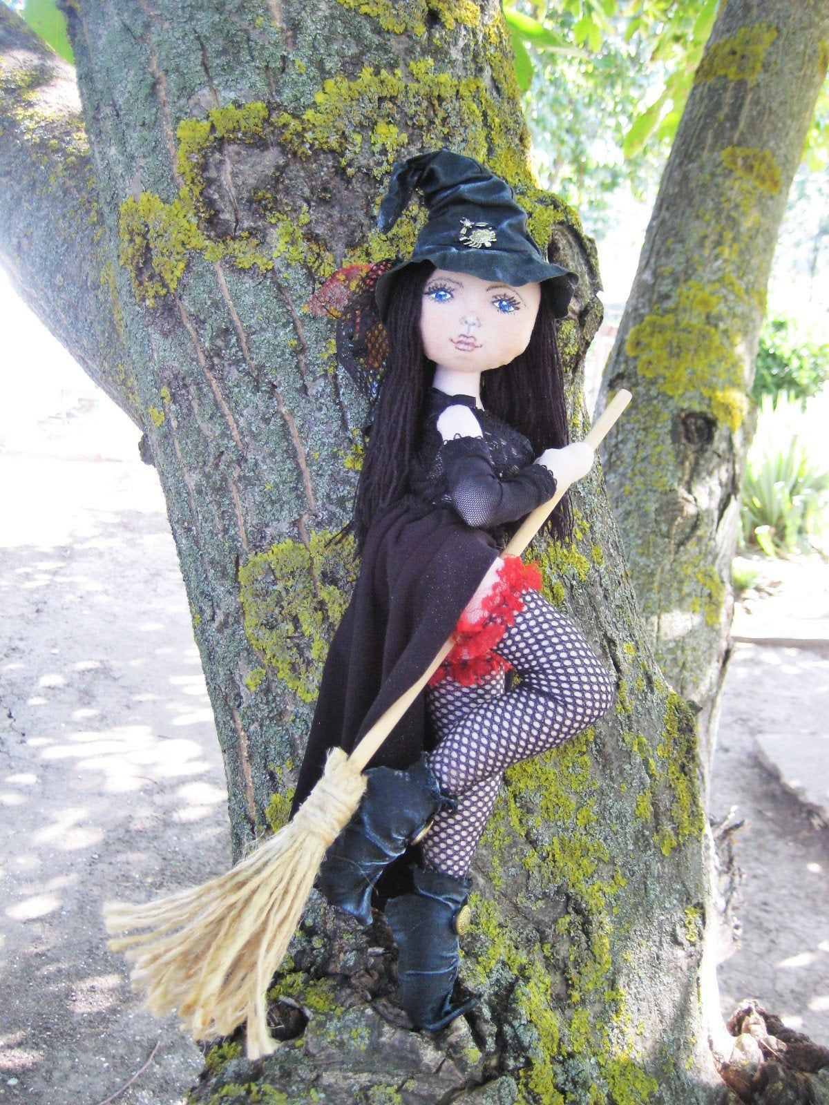 Witch Halloween cloth doll, Gothic sexy doll, Halloween home decor, art doll interior, witch broom doll, textile doll in black, magic doll
