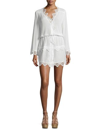 Elsewhere+Kimono+Tiered+Lace+Kimono,+White++by+Suboo+at+Neiman+Marcus.