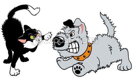 perro y gato peleando — Ilustración de stock #18648431   I DO NOT ...