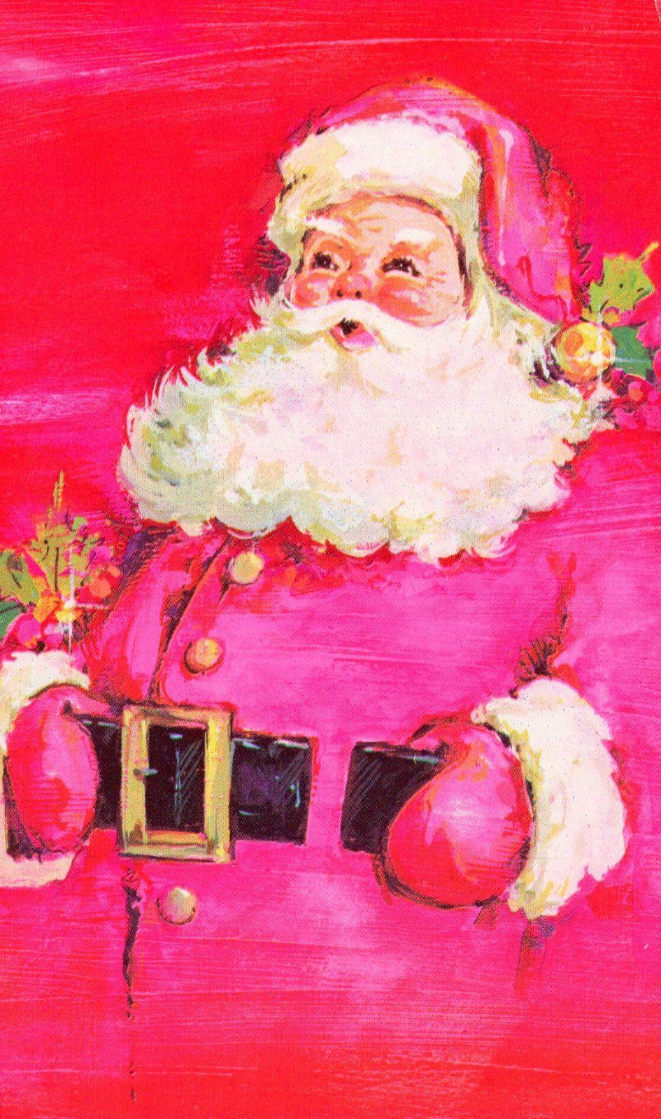 vintage christmas card santa claus with pink tones ebay. Black Bedroom Furniture Sets. Home Design Ideas