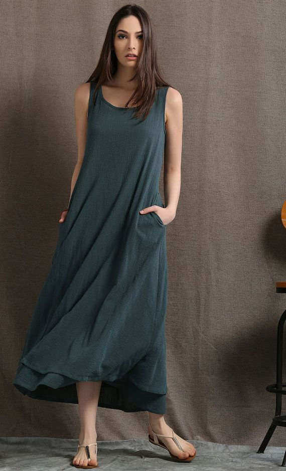 8f6f67f7ba Layered Linen Maxi Dress Long Sage Green Casual by YL1dress