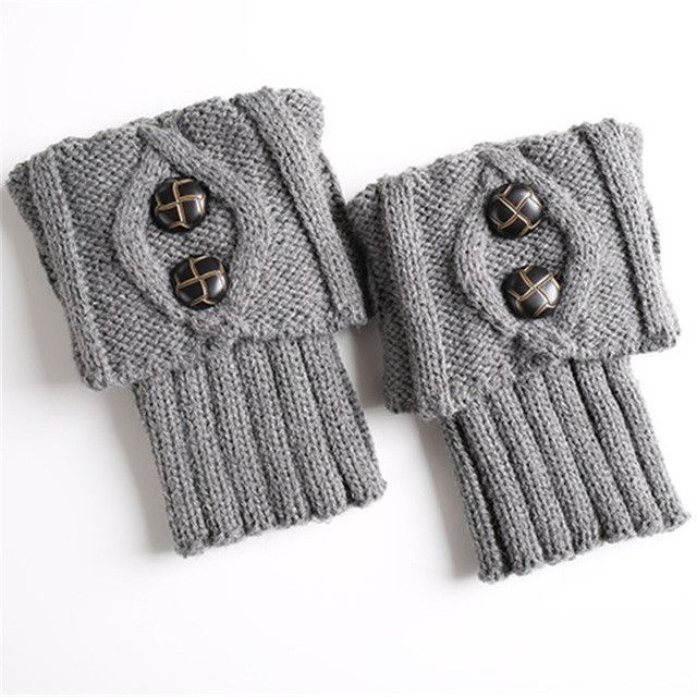 9 Colors Women Knit Leg Warmer Short Boot Cuffs Buttons Crochet Boot ...