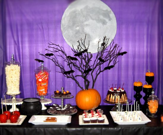 cute halloween party dessert table from creative cakes custom toppers with a moon backdrop - Halloween Table Ideas