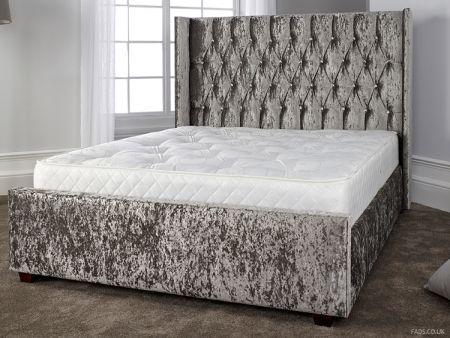 Gabriella Diamante Headboard Bed Frame In Grey Velvet Fads