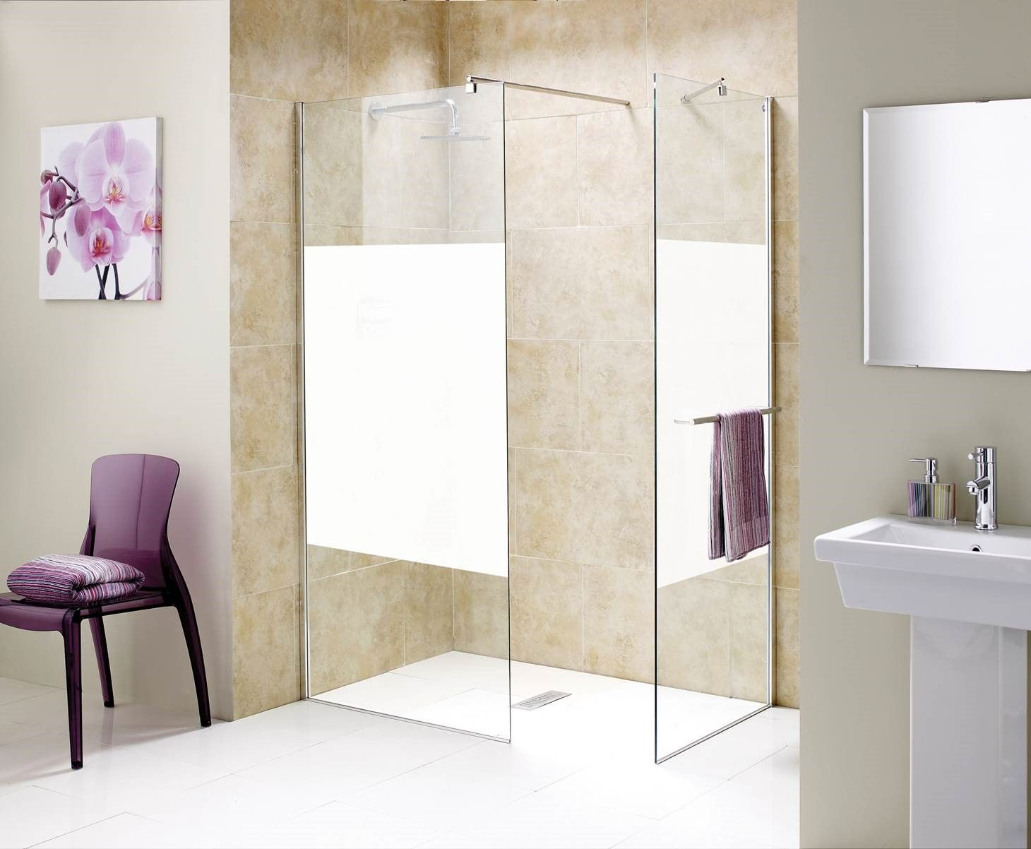Wetroom Glass Panel With Opaque Glass Centre Piece Glass Shower
