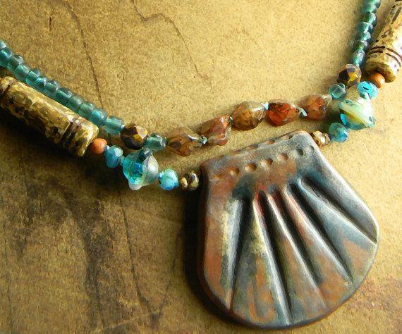 Boho Bohemian Jewelry Terracotta Pendant Necklace Aqua Hand