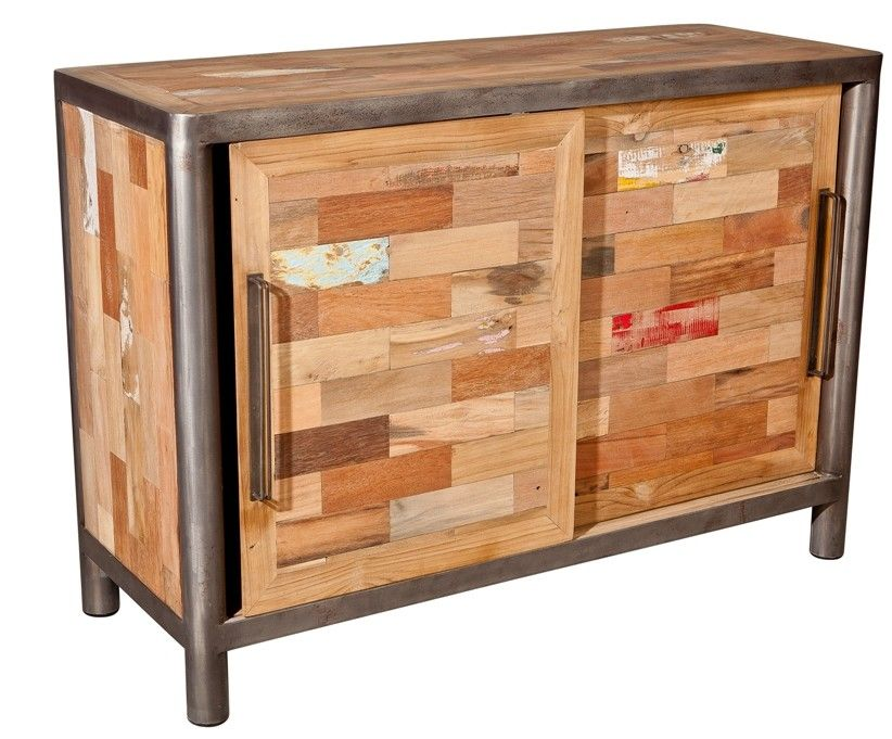 Buffet Bois Recycle 2 Portes Coulissantes 116x50x81cm Caravelle Buffets Furniture Buffet Et Storage Chest