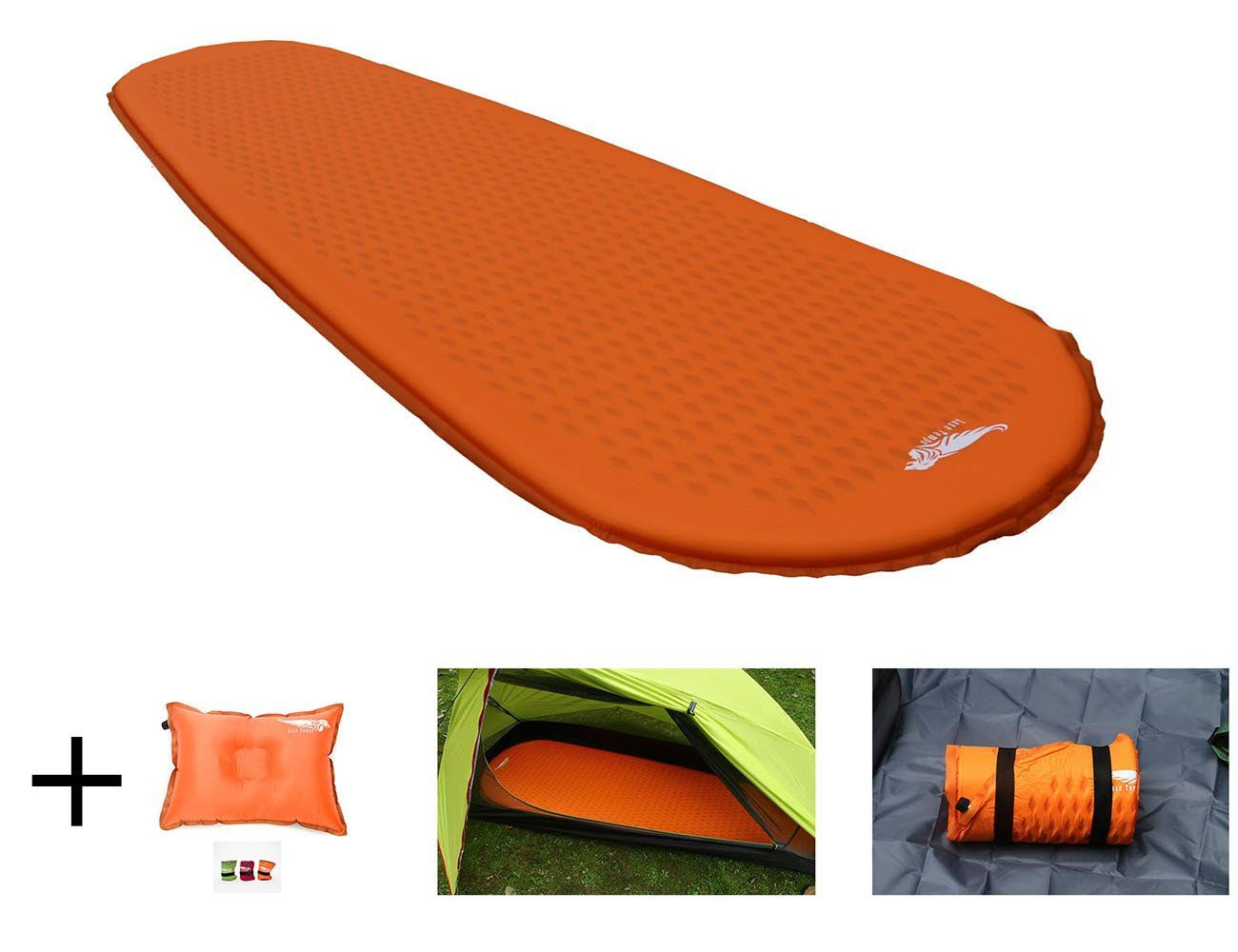 Luxe Tempo Ultralight Self Inflating Sleeping Pad Backpacking 38 Oz With Free Pillow Foam Camping Mattress Mat For Thru Hike Full Length Camping Mattress 1 5 In Camping Mattress Sleeping Pads Mattress