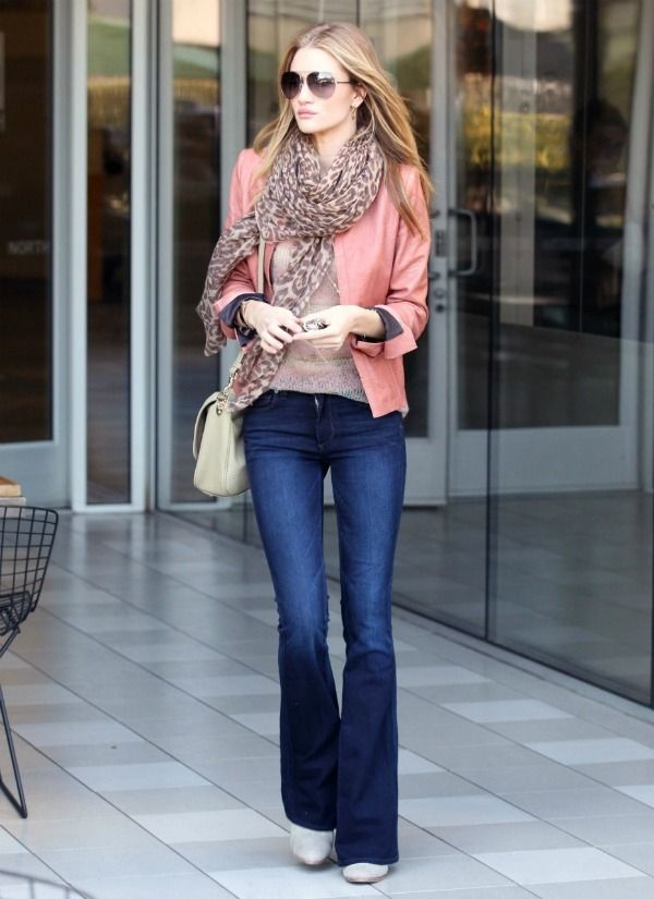 Bootcut jean with rose leather jacket, another nice style