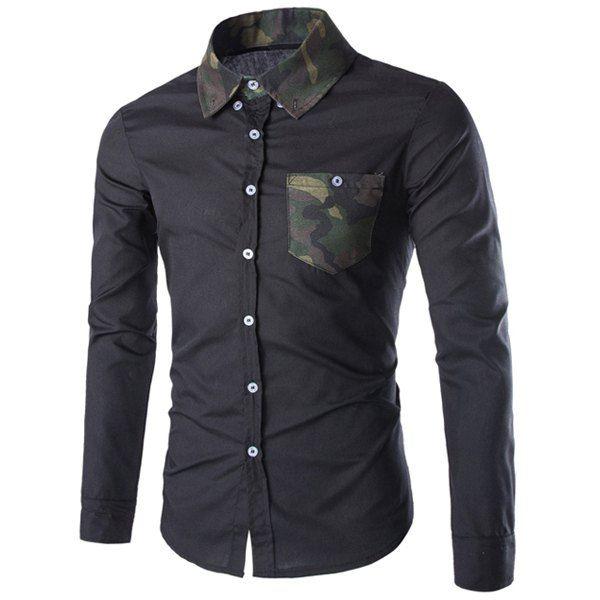 Slimming Shirt Collar Fashion Pocket Design Color Block Camo Splicing Long Sleeve Polyester Men's Shirt #jewelry, #women, #men, #hats, #watches, #belts