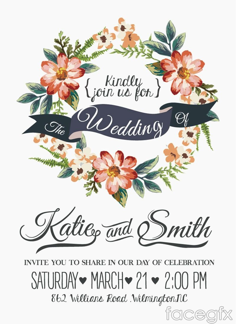 Free download Watercolor floral wedding invitation card vector ...