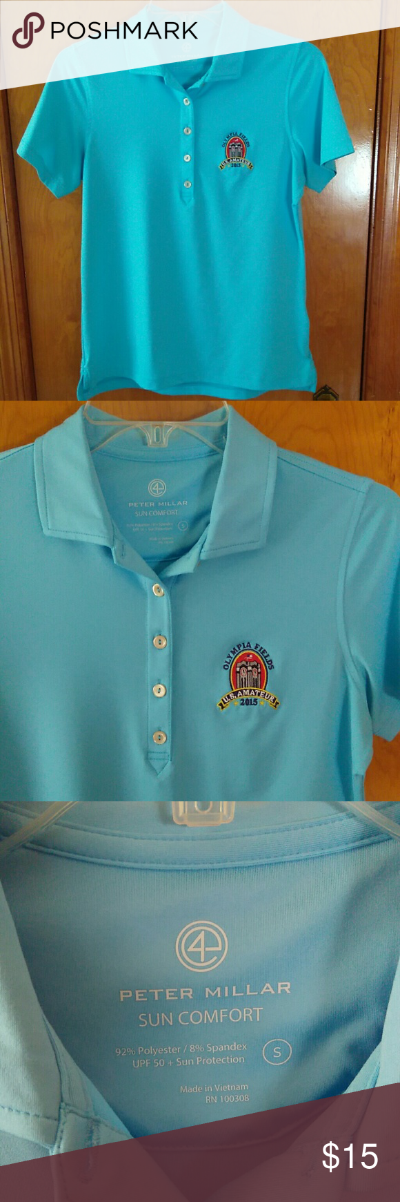 Peter Millar Solid Blue Golf Polo Size Small Item is solid