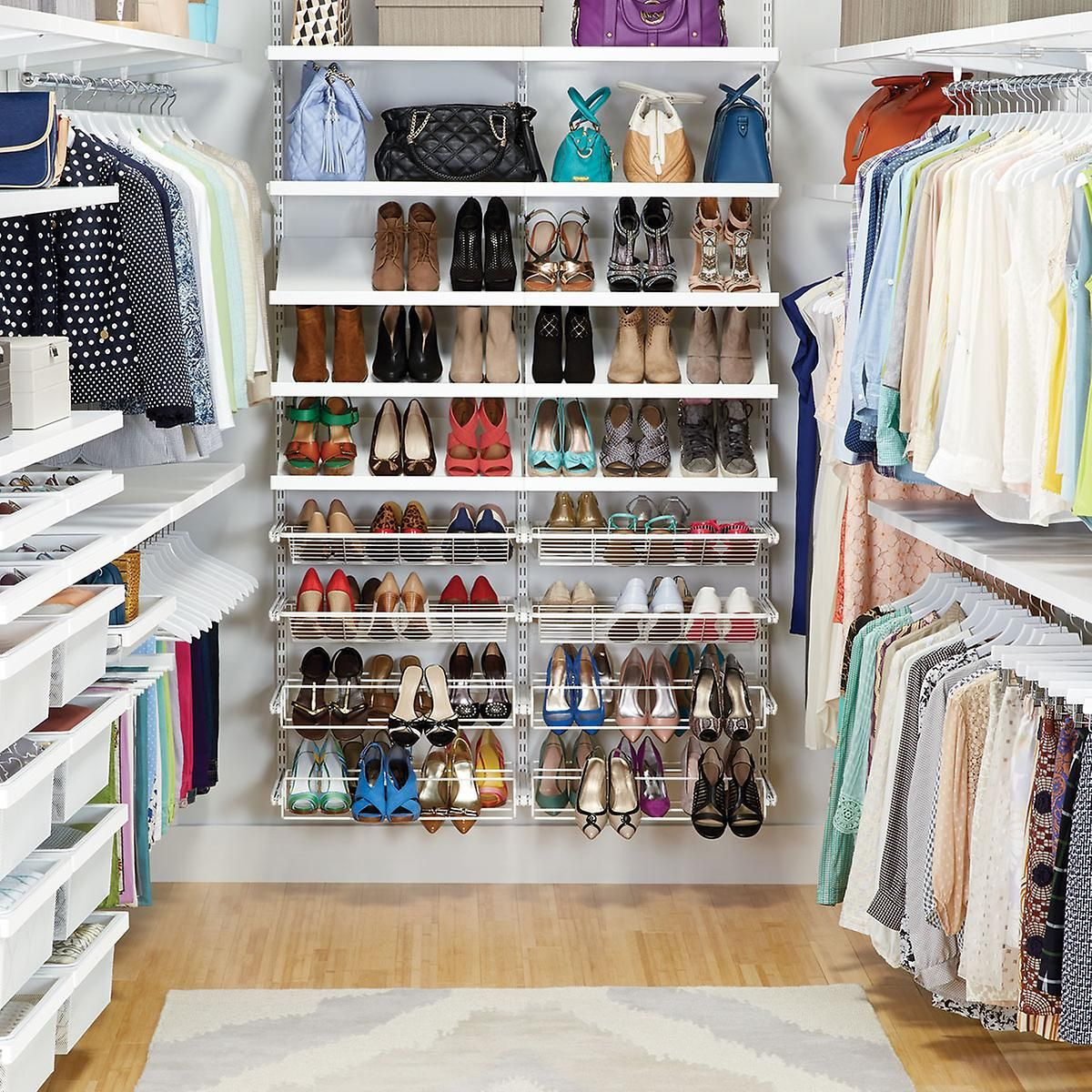 White Elfa Décor Walk In Clothes Closet | The Container Store