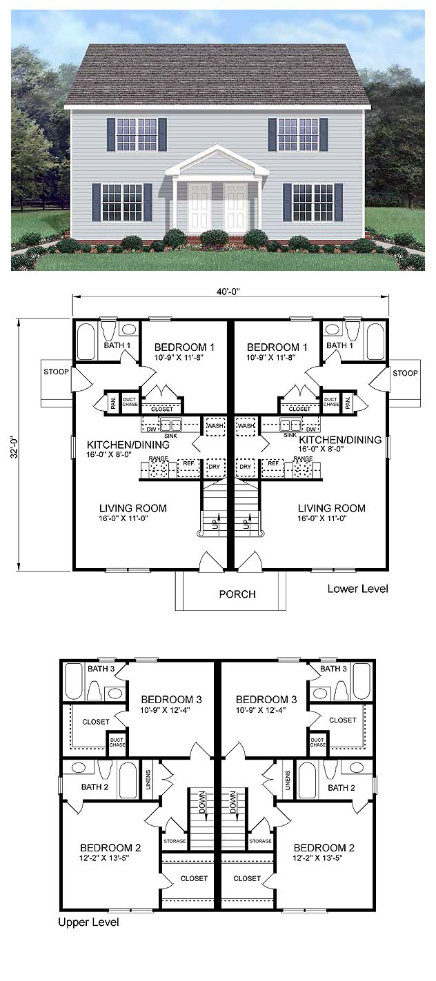 Colonial Style Multi Family Plan 45370 With 6 Bed 6 Bath Duplex Floor Plans Duplex House Plans Duplex House