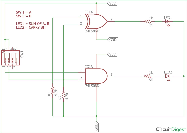 Half Adder Circuit Diagram In 2020 Circuit Diagram Diy Electronics Circuit