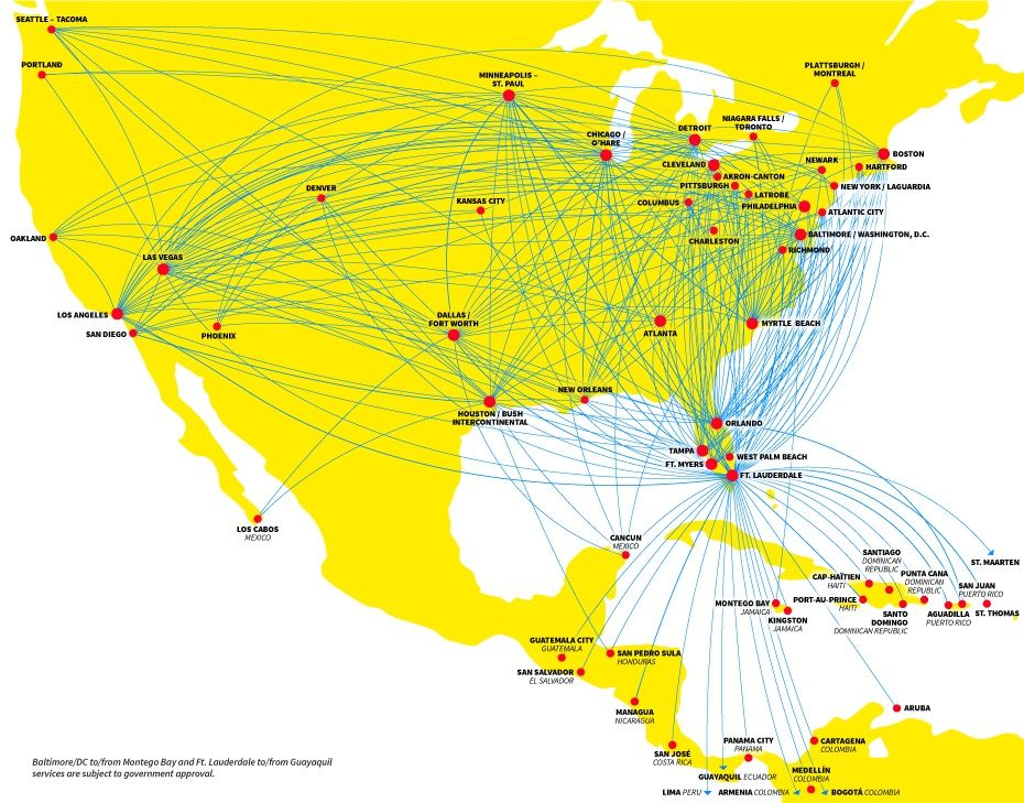 Spirit Airlines Route Map Airline Schedules Spirt