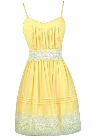 Cute Yellow Dress, Yellow and Off White Dress, Yellow Party Dress ...