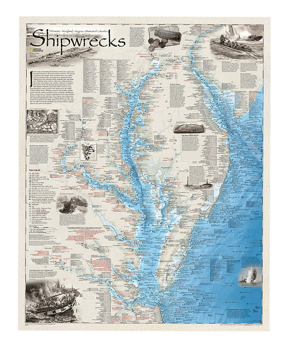 National Geographic Maps Shipwrecks Of The Delmarva Laminated Map - Ocean city md map