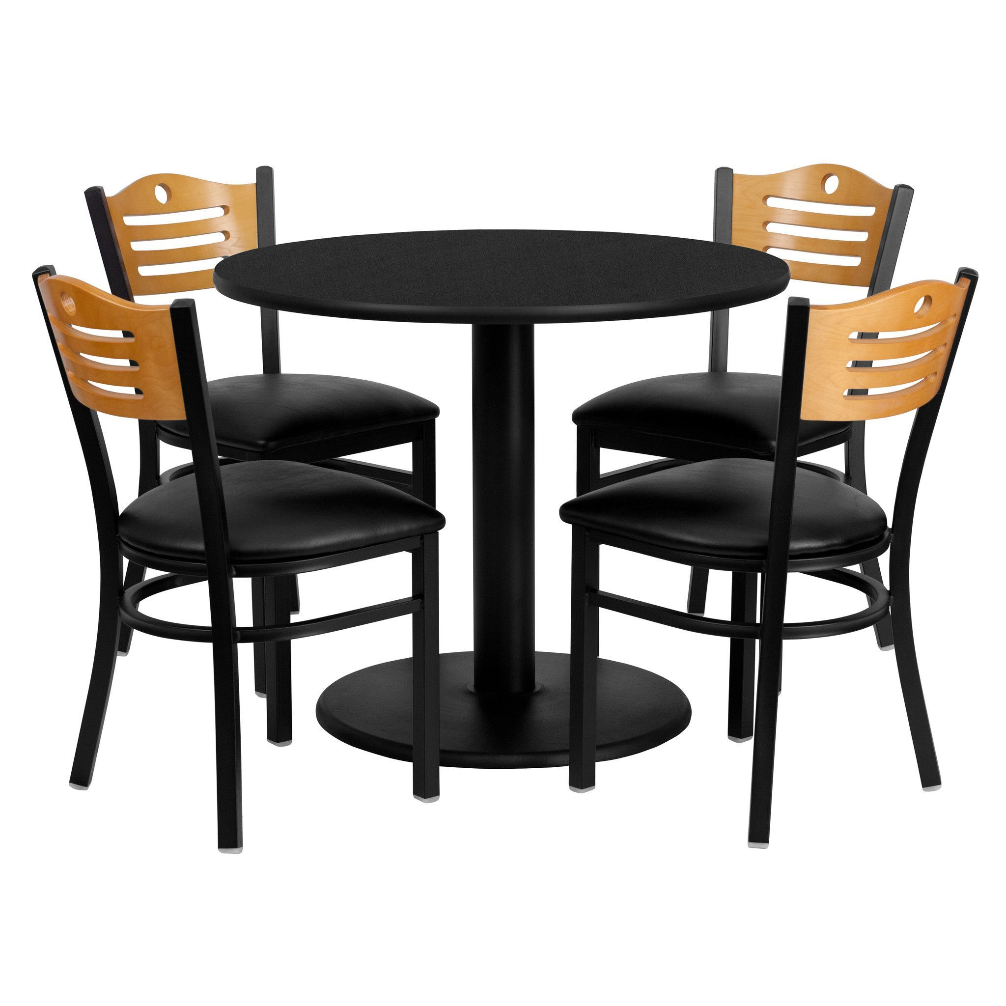 36 round black laminate table set with 4 wood slat back metal chairs
