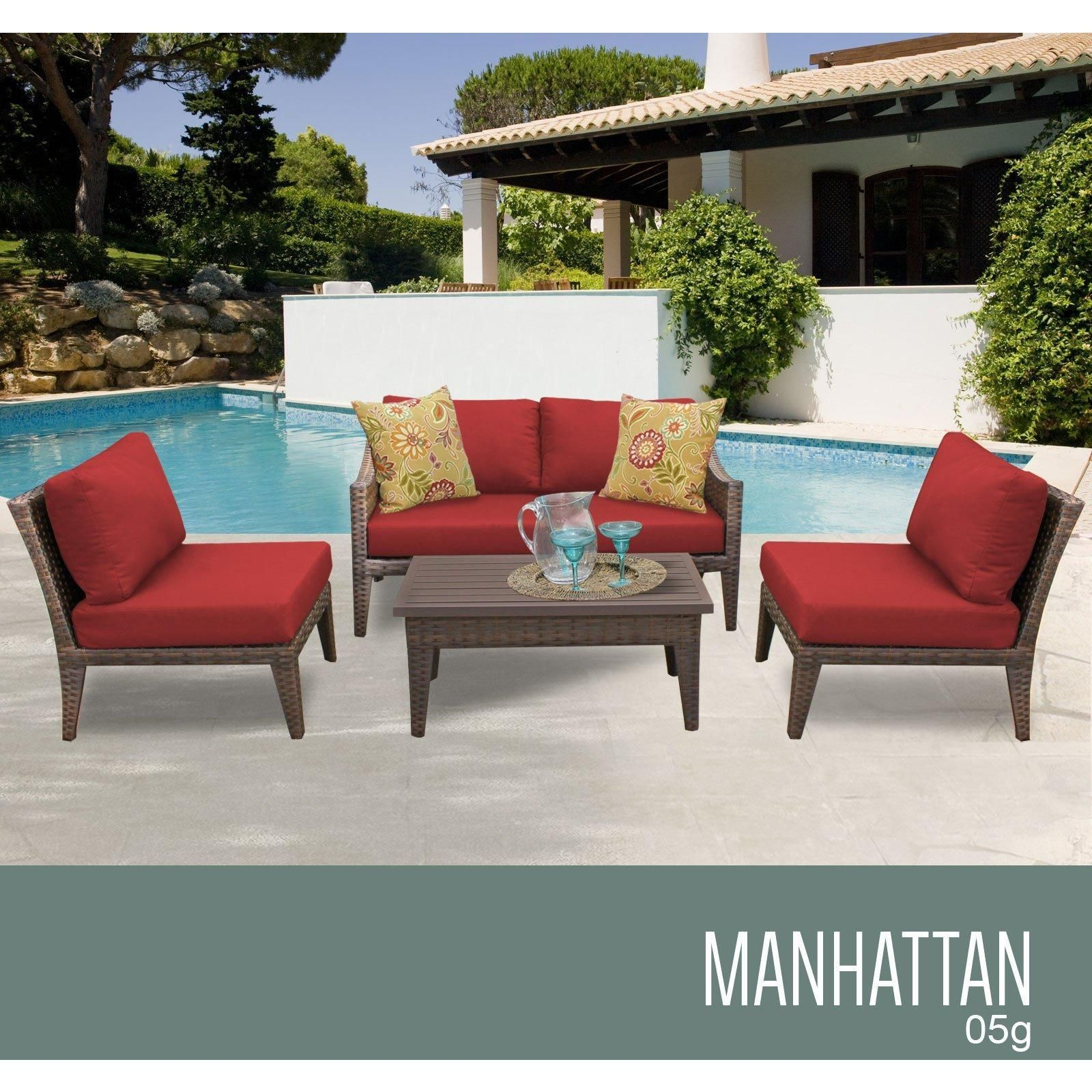 Manhattan 5 Piece Outdoor Wicker Patio Furniture Set 05g Outdoor