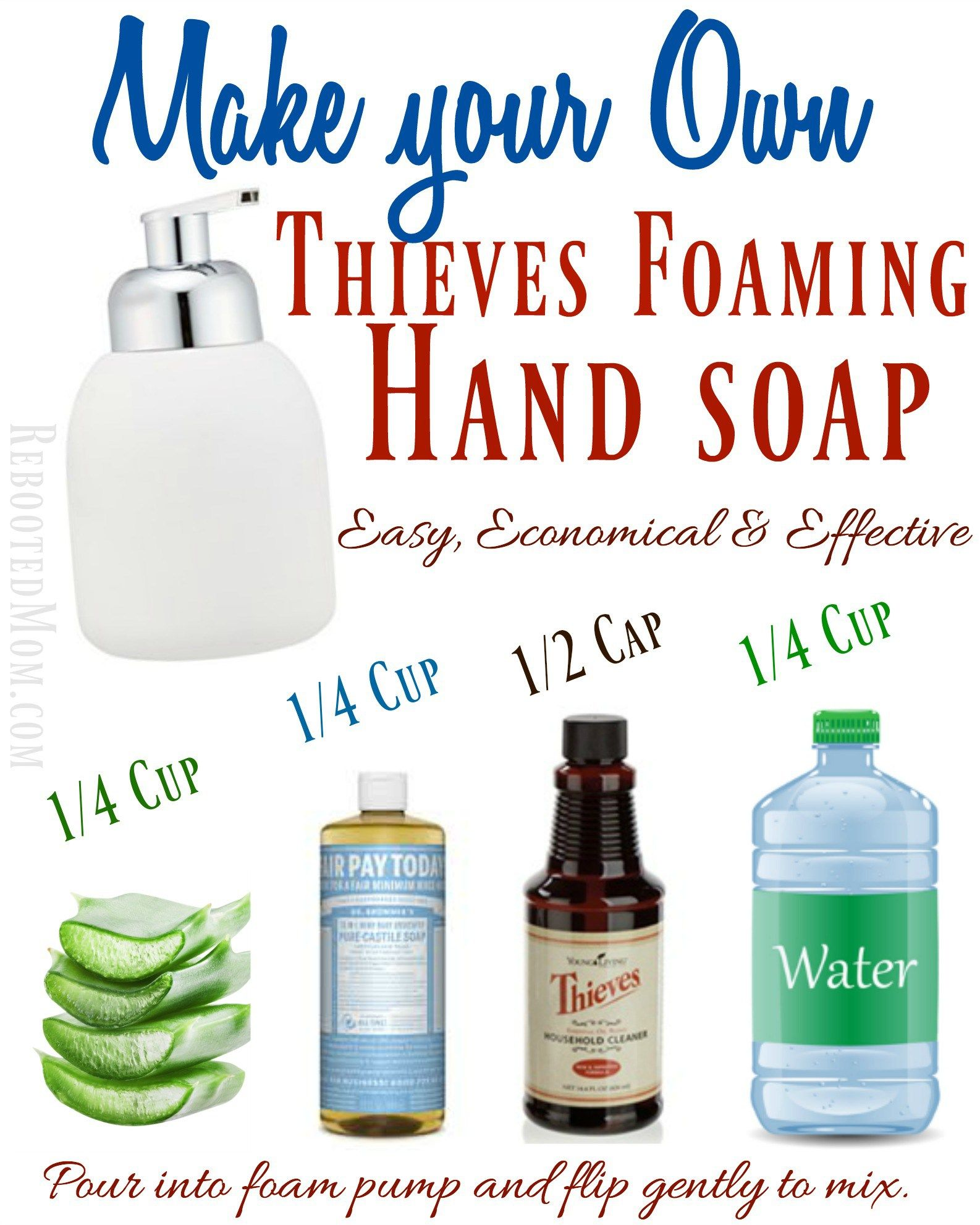 Make your Own Thieves Foaming Hand Soap Homemade hand