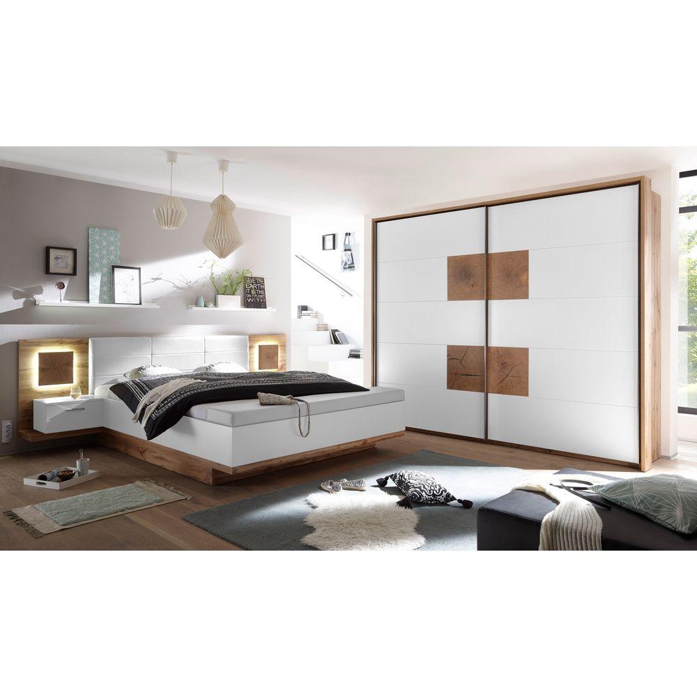 Schlafzimmer Verona Set Incl Beleuchtung Wildeiche Weiß Hirnholz - Komplett schlafzimmer gunstig kaufen