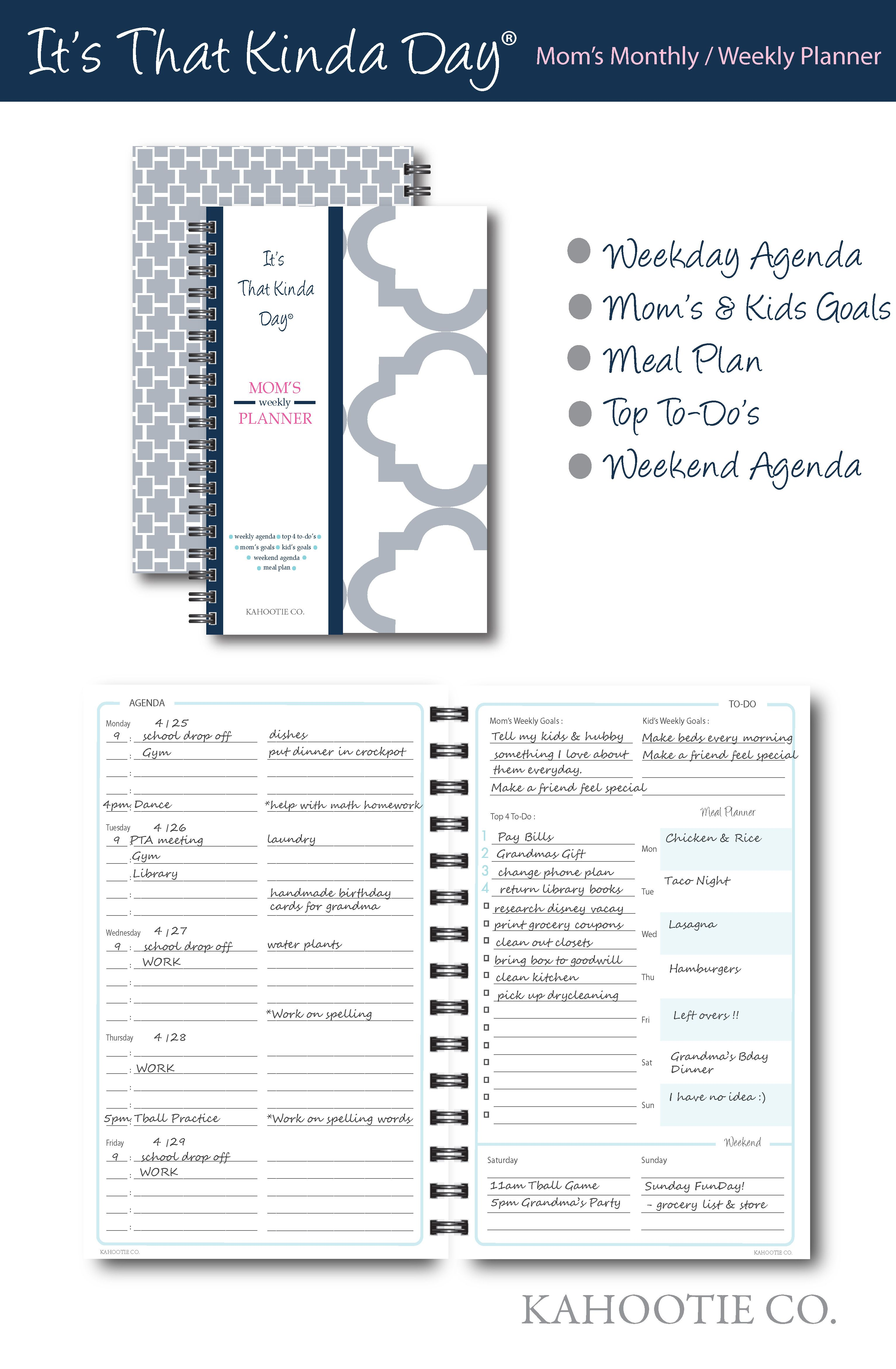 Kahootie Co It S That Kinda Day Mom S Weekly Planner 6